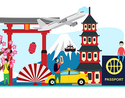 Travel to Japan flat Illustration