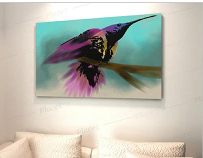 bird &flower canvas illustrated fancy designs