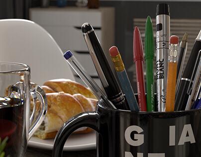 photo realistic rendering - pens