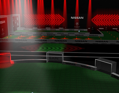 Render 3D event stage for Champions League