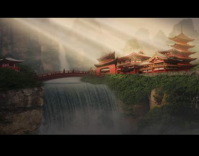 Sunrays over oriental Rivendell