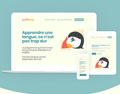 Pufflang Landing Page Web Design: Learn languages
