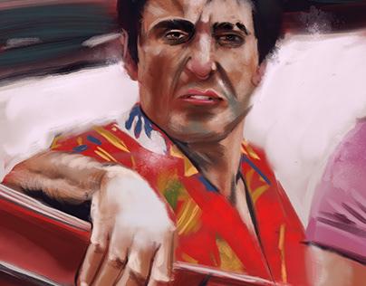 Tony Montana on a car