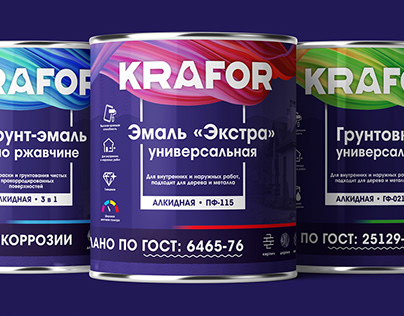 Label can rebranding for enamels and paints KRAFOR