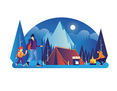 Outdoor Camping Illustration