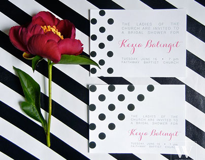 Glam Kate Spade-inspired Bridal Shower Invitations