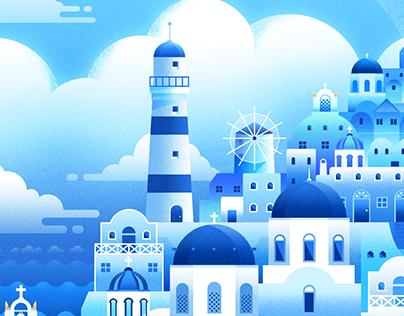 The llustration of city(blue)