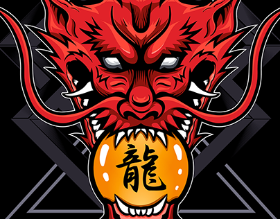 Japanese Red Dragon Oni Warrior | tees Design