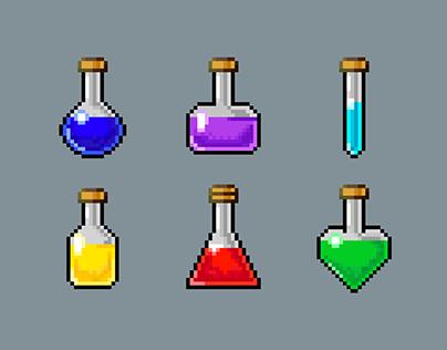 Set Of Potion Bottle | Pixel Art