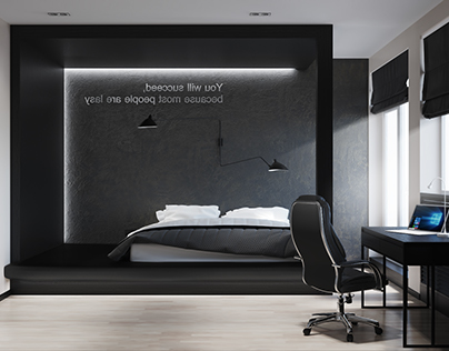 Design-project of penthouse. Part 2 - Masculine bedroom