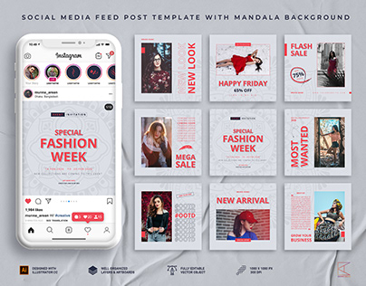 Social Media Feed Post Template With Mandala Background