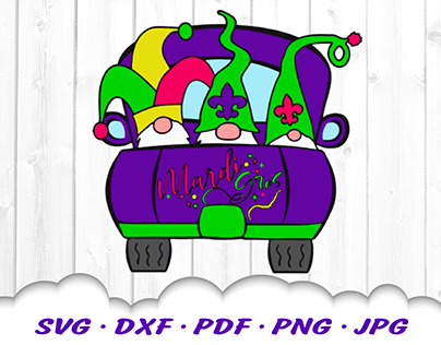 Mardi Gras Truck Gnomes SVG Cut Files