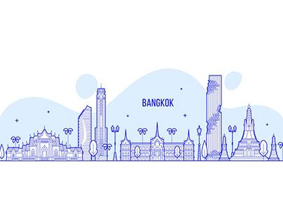 Bangkok skyline, Thailand Illustration Free Download