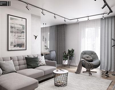 Дизайн проект гостиной в г. Минск 16 м2