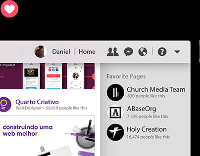 Facebook App UI Concept Design | Daniel Fontenele