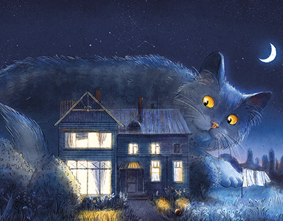 "Illustrations for ""Cat"" children's poetry book"