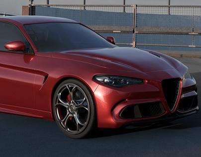 Alfa Giulia Quadrifoglio - 3D modeling | Blender3d