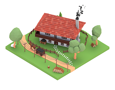 Low Poly Old village house