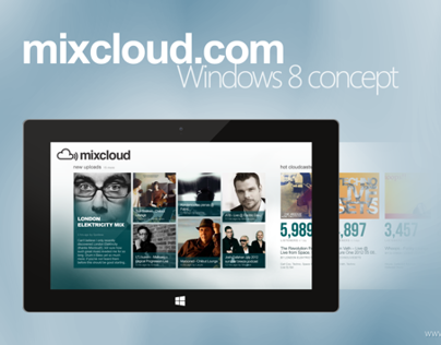 Mixcloud.com Application Concept for Windows 8