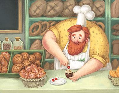 Martin's Bakery. Book illustrations.