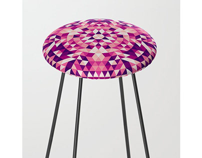 Purple Feather Mandala Counter Stool