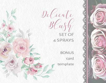 Delicate blush and grey roses: set of sprays