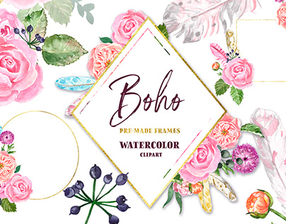 Boho Watercolor Flowers Roses PNG Floral Clipart Frames