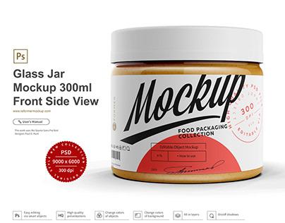 Glass Jar Mockup 300ml-Front Side View