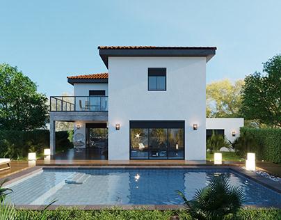 Rendu de villa avec piscine en france