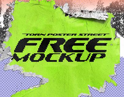 Free Mockup Torn Poster Street
