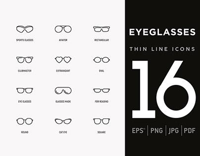 Eyeglasses | 16 Thin Line Icons Set