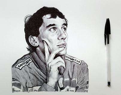 Ayrton Senna ballpoint pen portrait