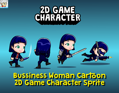 Bussiness Woman Cartoon 2D Game Character Sprite