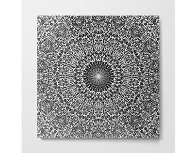 Grey Spiritual Mandala Garden Metal Print