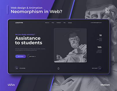 Assistance to students. Landing Page. Web-Design
