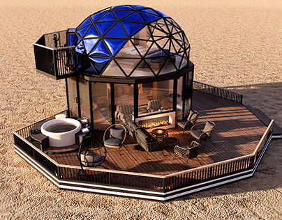 glamping pod geodesic dome PETRA