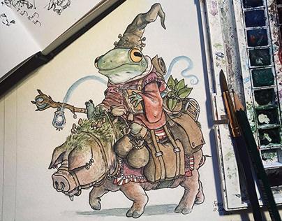 Shaman Frog on a Hog