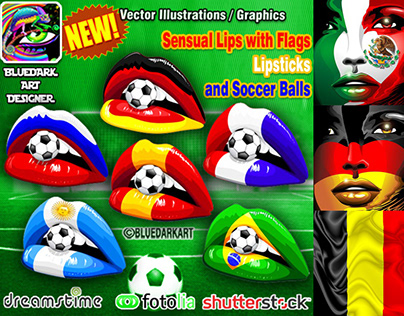 National Flags on Women's Faces and Lips © BluedarkArt