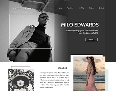 Photographer's Portfolio. Landing Page