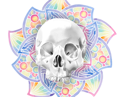 Watercolor Skull And Mandala