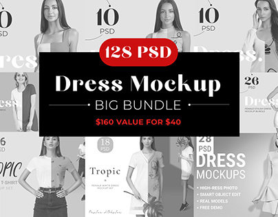 75% OFF Sale Woman Dress Mockup Bundle