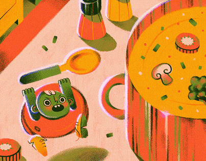 Vegetable kids against the big soup