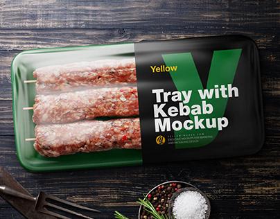 Plastic Tray With Kebab PSD Mockup