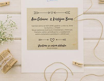 Ana & Kristijan wedding card invitation