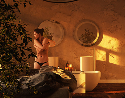 3D Interior Bedroom Render