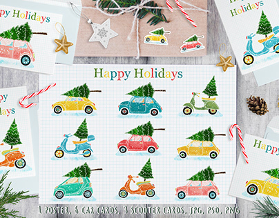 Christmas poster, postcards with cars and scooters