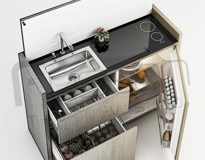 Minimalistic Multipurpose Mini Kitchen