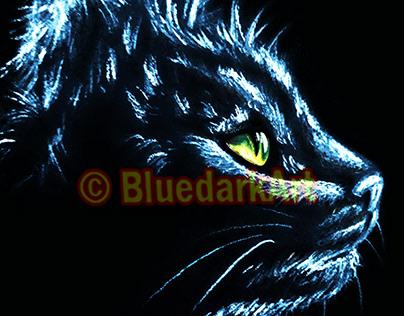 Cat Portrait Art © BluedarkArt TheChameleonArt