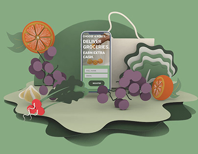 Grocery App Mockup & Landing Page