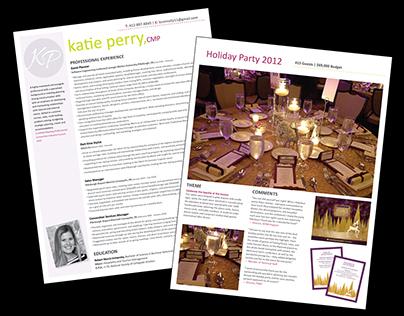 Resume & Portfolio Book for Katie Perry, Event Planner